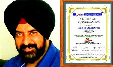 Kamaljit Singh Panchhi Honoured with a Certificate of Appreciation